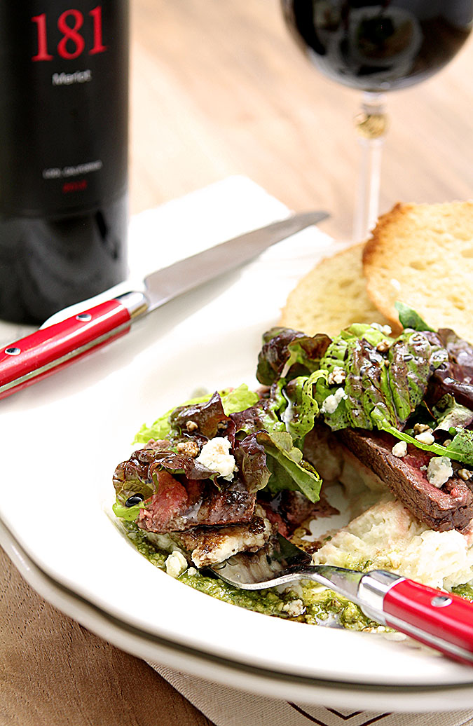 Flank Steak Salad with Mashed Potatoes, Pesto and Gorgonzola Chees
