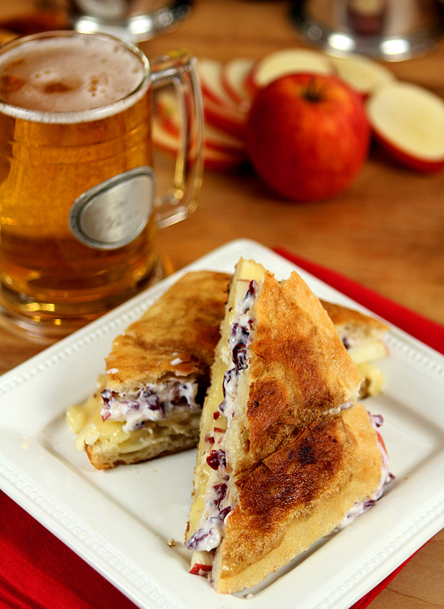 Brie and Apple Grilled Cheese Sandwich with Cranberry Honey Mustard
