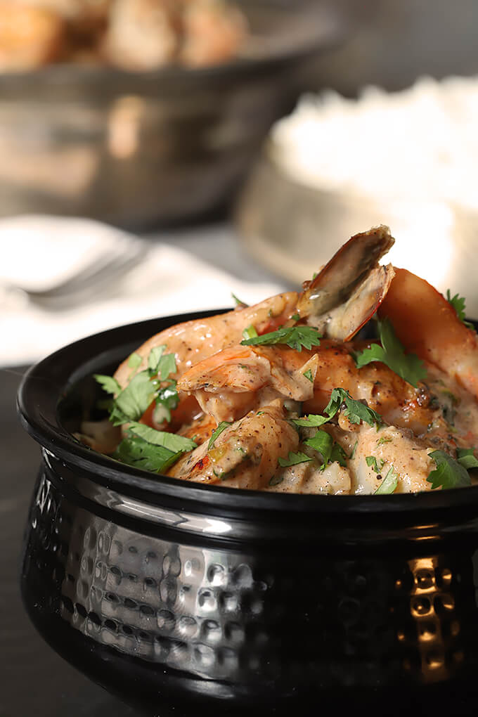 Indian Stir Fried Shrimp in Tomato Cream Sauce in Bowl