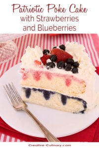 A Strawberry & Blueberry Poke Cake with Real Fruit Syrups and Whipped Cream
