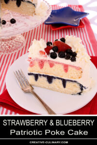 Fresh Strawberry & Blueberry Poke Cake with Real Fruit Syrups and Whipped Cream