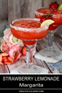 Strawberry Lemonade Margaritas Garnished with a Strawberry and Lime Wedge