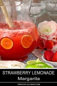 Pitcher of Strawberry Lemonade Margaritas