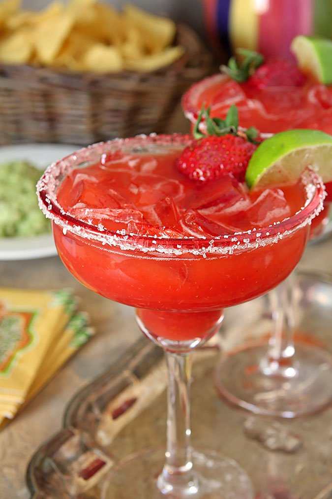 Fresh Strawberry Margarita Cocktails Served on a Silver Trau