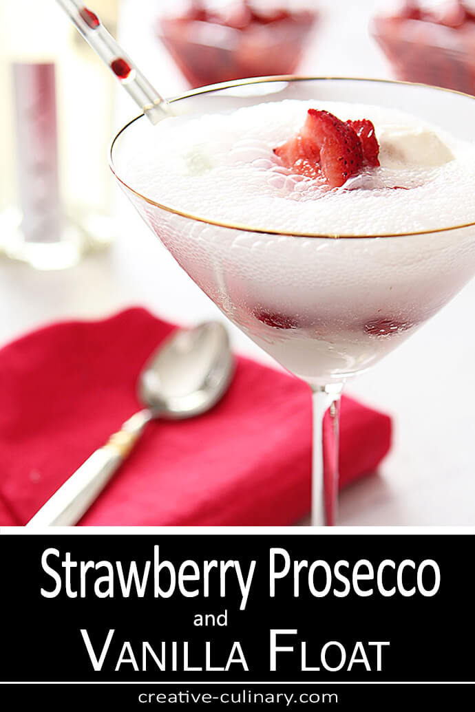 Strawberry Prosecco Float Cocktail served in a martini glass is a great adult dessert.
