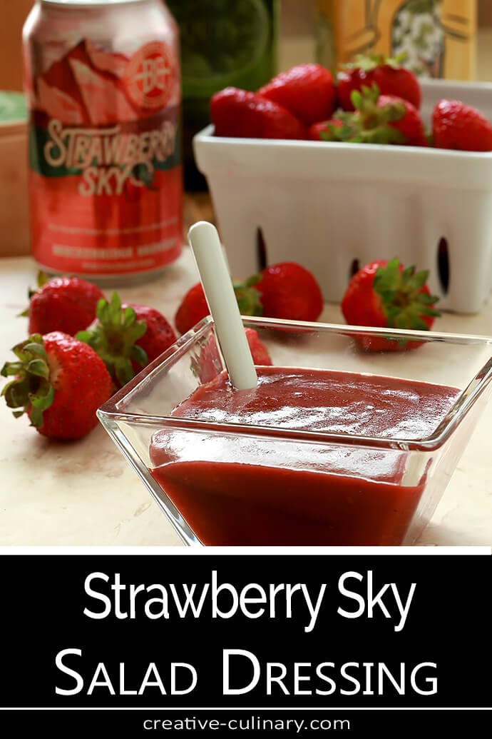 Strawberry Sky Salad Dressing in a Glass Serving Container with Can of Strawberry Sky Beer PIN