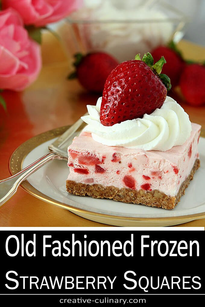 Old Fashioned Frozen Strawberry Squares PIN