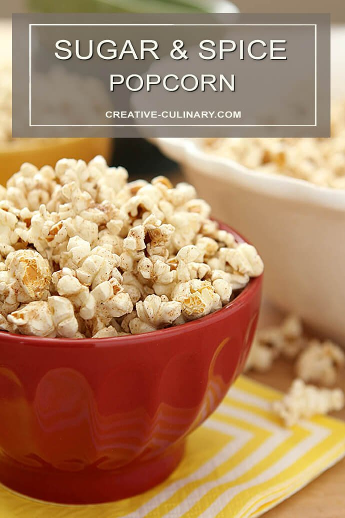 Sugar and Spice Popcorn in Red Serving Bowl