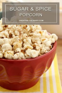 Sugar and Spice Popcorn in Red Serving Bowl Closeup
