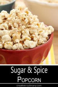 Sugar and Spice Popcorn in Red Bowl
