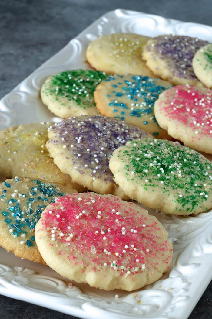 Amish Sugar Cookies Decorated with Pastel Sugar Crystals for Easter