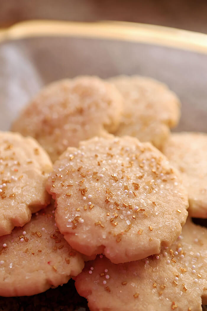 Amish Sugar Cookies Decorated with Clear and Gold Sugar Crystals for Wedding or Anniversary