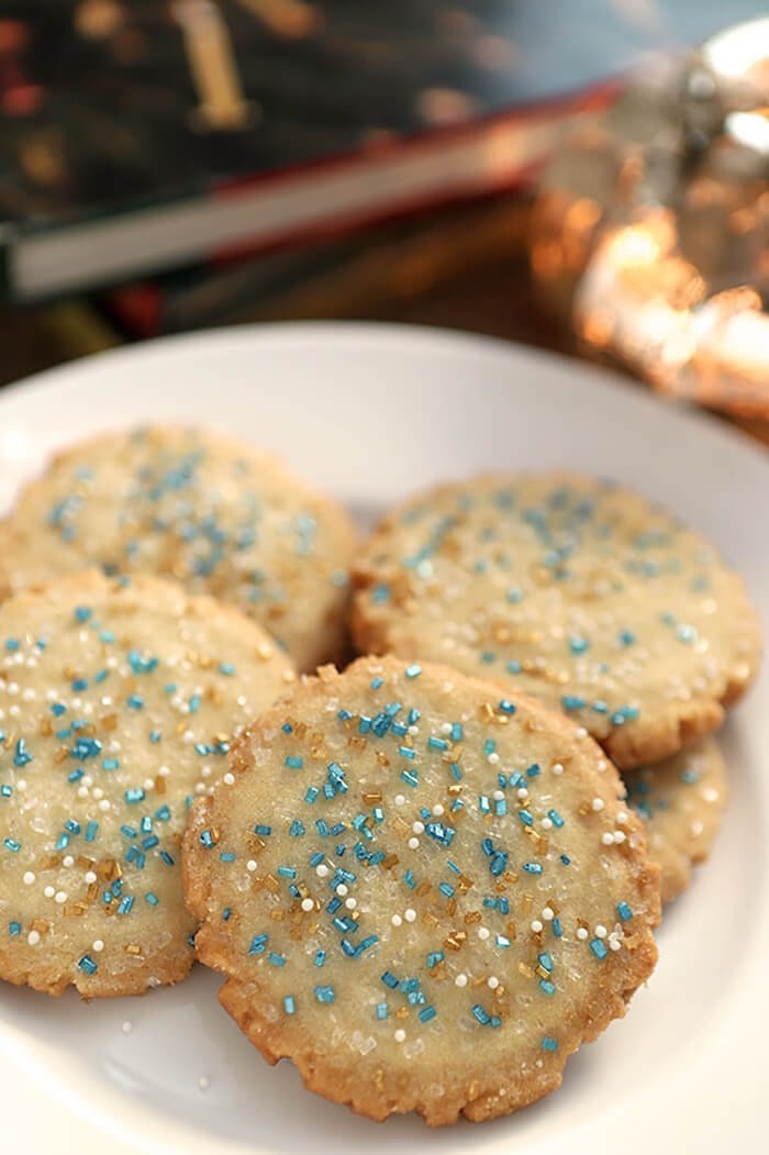 Amish Sugar Cookies Decorated with Blue and Gold Sugar Crystals for Hannukah