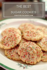 The Best Sugar Cookies Decorated with Red, Green, and Gold Sugar Crystals for Christmas