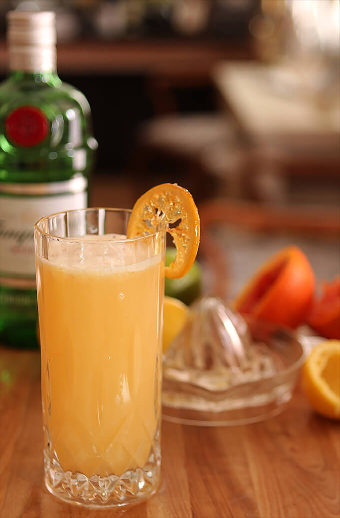Sweet Citrus Fizz Cocktail on a Table with Gin and Oranges