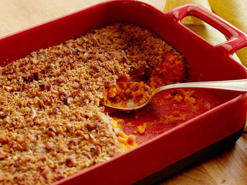 Sweet Potato Souffle Casserole in a Red Casserole Dish