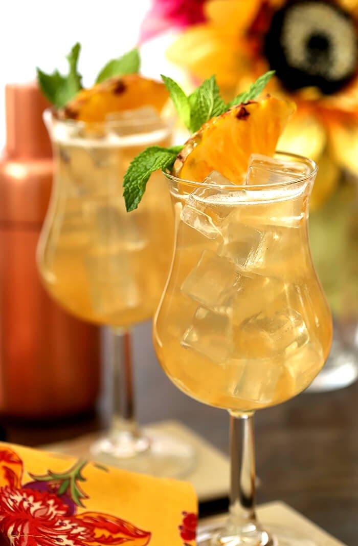 Two Glasses of Tahiti Vanilla Sky Vodka Cocktail with Garnish