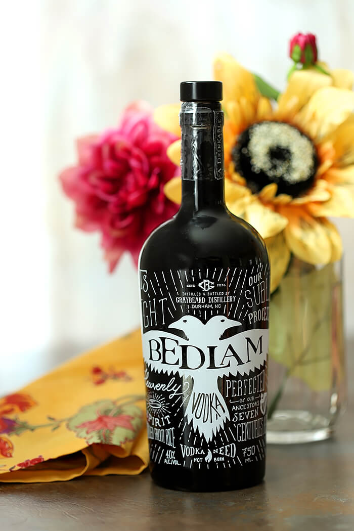 A bottle of Bedlam Vodka used in the Tahiti Vanilla Sky Vodka Cocktail