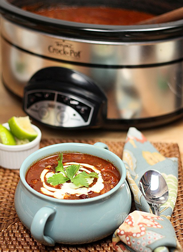 Three Bean Chili in Blue Soup Crock with Crockpot