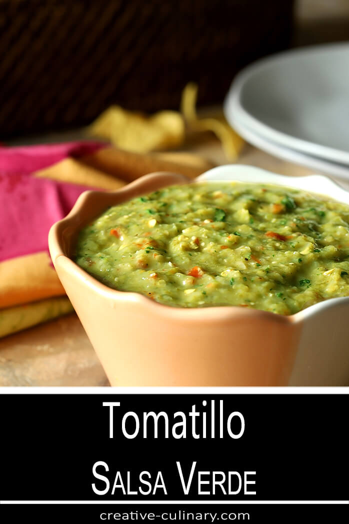 Tomatillo Salsa Verde (Green Salsa) Served with Tortilla Chips