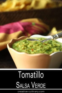Tomatillo Salsa Verde (Green Salsa) in a Peach and White Bowl