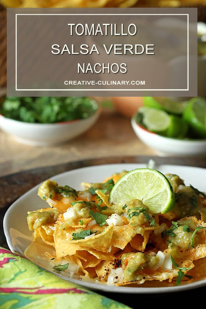 Tomatillo Salsa Verde (Green Salsa) Combined with Cheese and Onions for Nachos