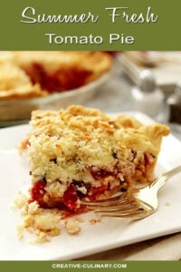 Slice of Whole Fresh Summer Tomato Pie with Forkful Missing
