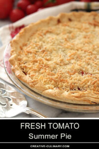 Whole Fresh Tomato Summer Pie with Parmesan and Breadcrumb Top Crust