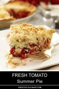 Slice of Fresh Tomato Summer Pie with Bite Taken