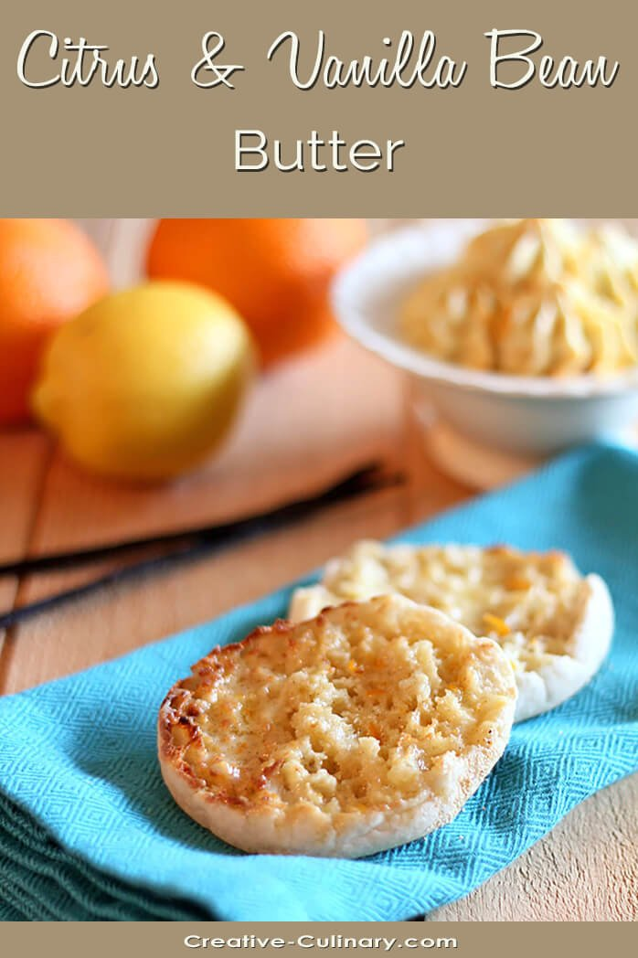Citrus and Vanilla Bean Butter on an English Muffin
