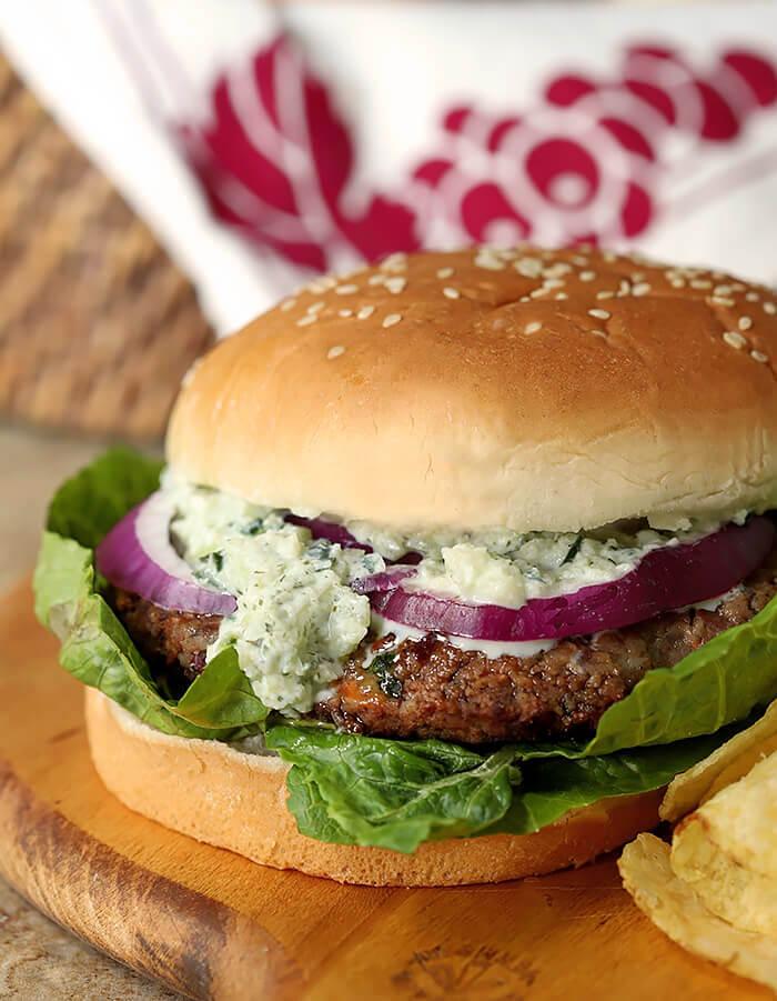 Closeup of Greek Veggie Burger