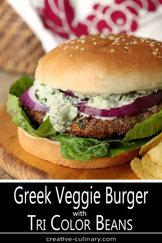 Tri-Color Bean Greek Veggie Burger with Tzatziki Sauce and Lettuce