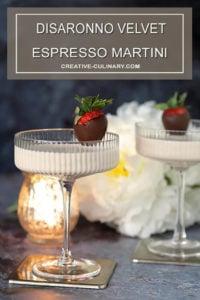 Disaronno Velvet Espresso Martini Cocktail Velvet White Espresso Martini Cocktail Garnished with Chocolate Covered Strawberry