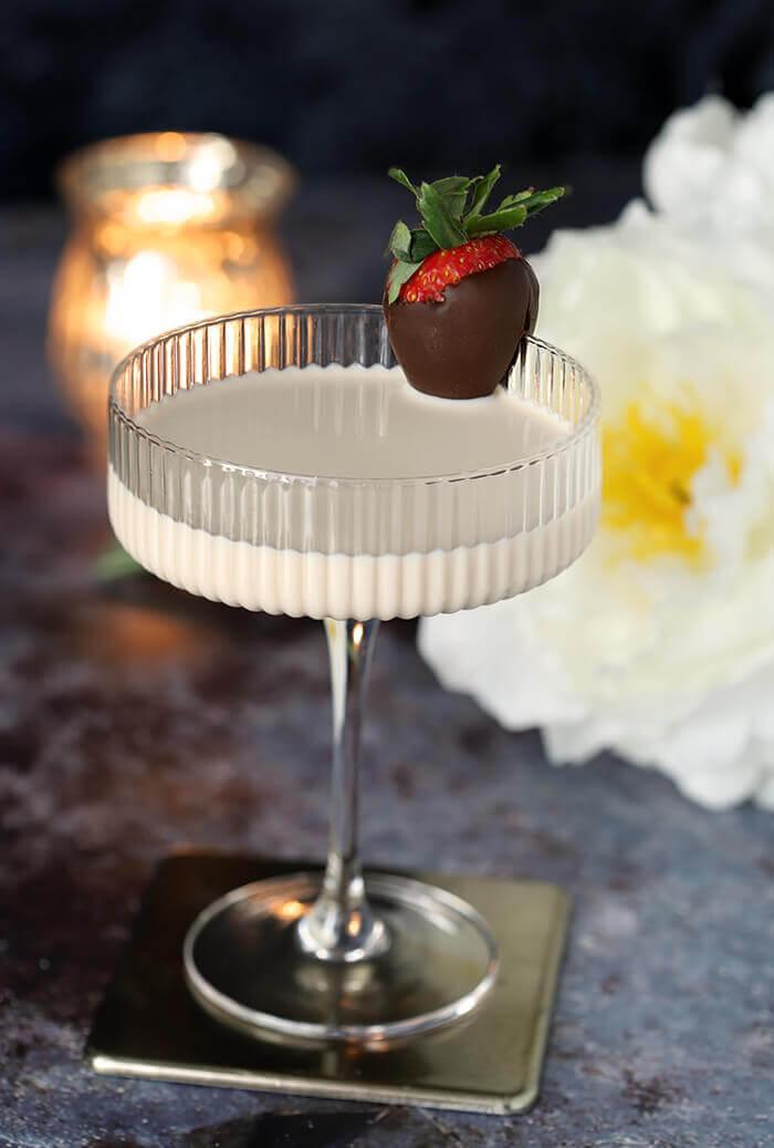Disaronno White Espresso Martini Cocktail in Ribbed Martini Glass