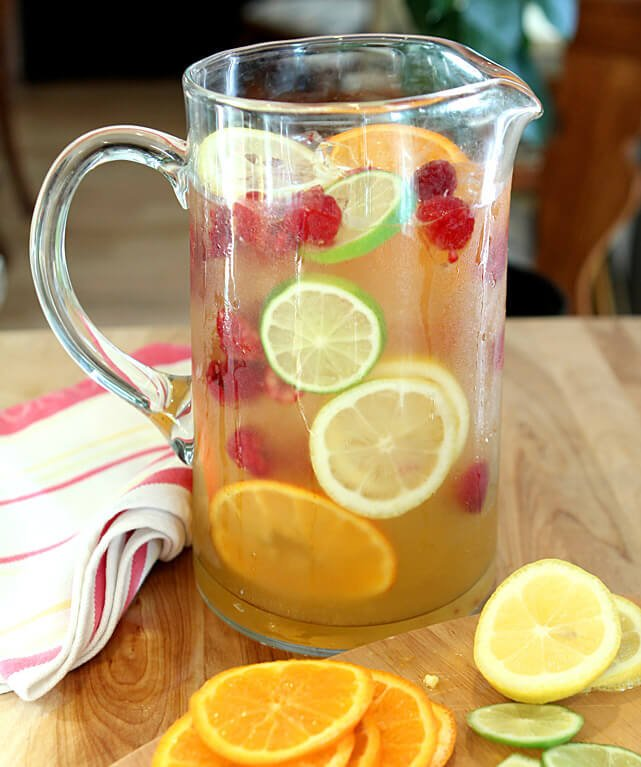 Vodka, Limoncello, and Prosecco Sangria with Raspberries in a Pitcher