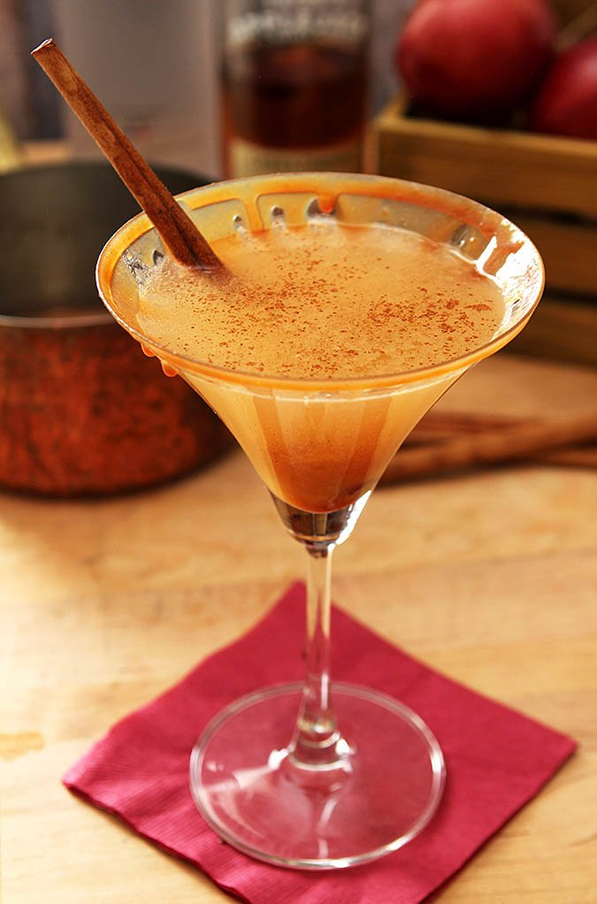 Warm Caramel Apple Cider Martini Cocktail Creative Culinary