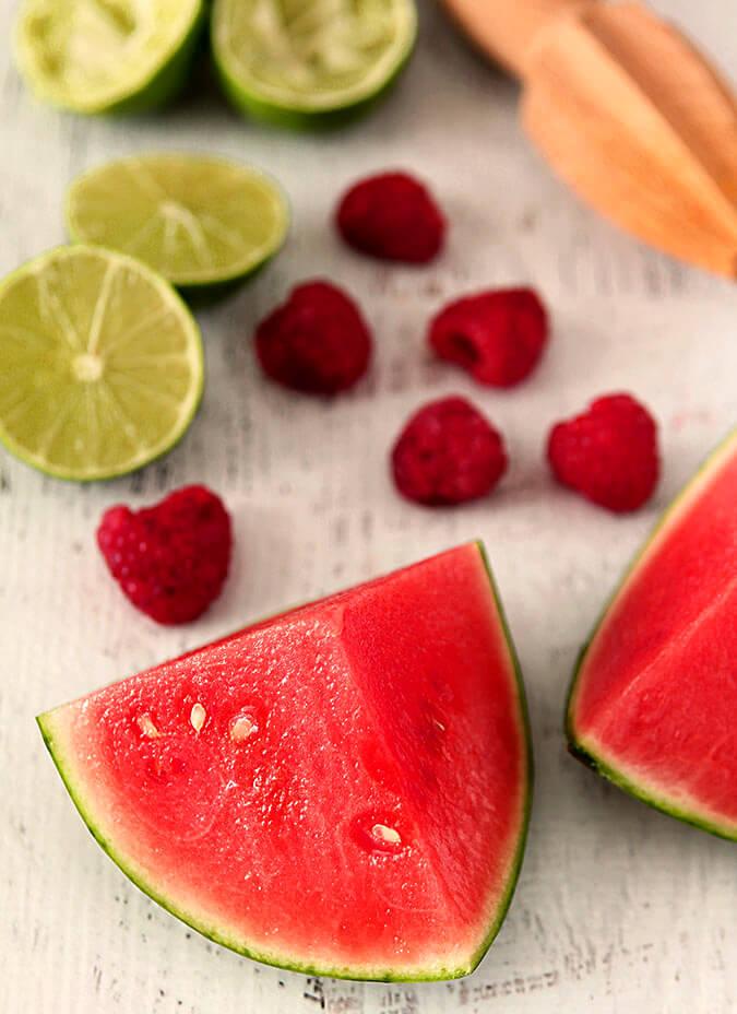 Watermelon Raspberry Cooler Cocktail Ingredients