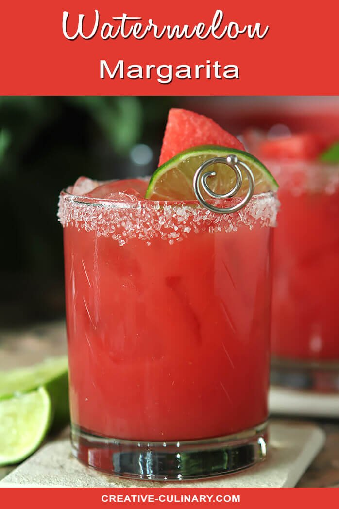 Watermelon Margarita On Tile and Garnished with Lime Wedge