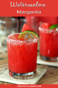 Watermelon Margarita Garnished with Lime Wedge