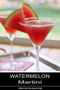 Watermelon Martini Garnished with Watermelon Slice