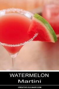 Closeup of Watermelon Martini with Sugared Rim and Garnished with Watermelon Slice