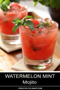 Watermelon Mint Mojito Cocktail in a Lowball Glass