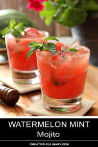 Watermelon Mint Mojito Cocktail in a Lowball Glass and Garnished with Fresh Mint