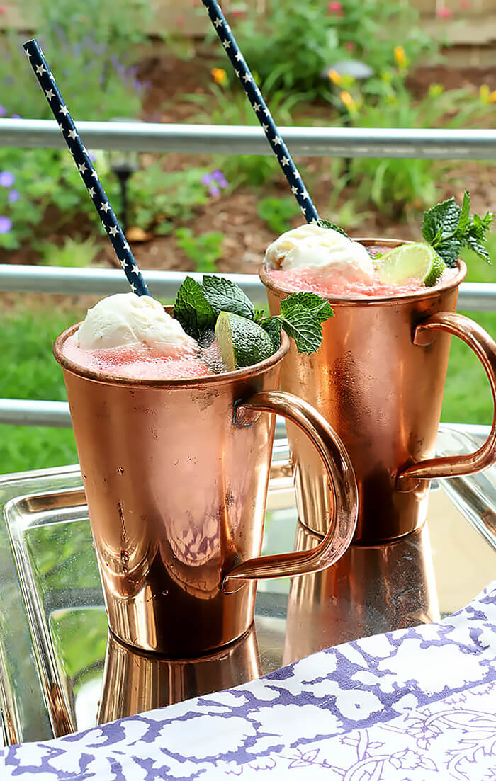 Two Watermelon Moscow Mule Floats on Silver Tray