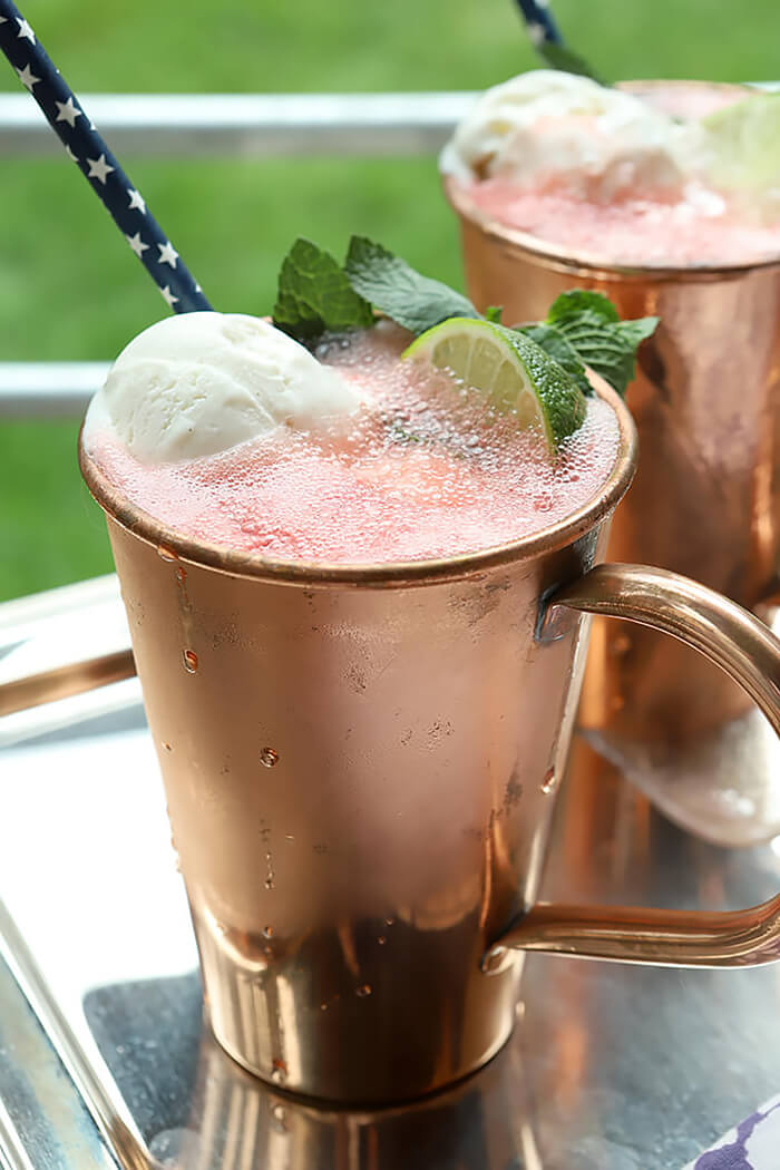 Watermelon Moscow Mule Float Garnished with Watermelon and Lime