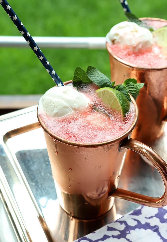 Watermelon Moscow Mule Float In Copper Cup