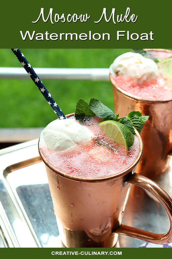 Watermelon Moscow Mule Float Garnished with Watermelon and Lime in Copper Cups