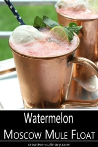 Watermelon Moscow Mule Float Served in a Copper Cup with Lime Sherbet