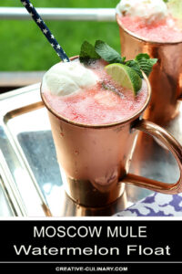 Watermelon Moscow Mule Float Garnished with Watermelon and Lime in Copper Cup
