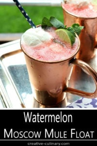 Watermelon Moscow Mule Float Served in a Copper Cup and Garnished with Lime